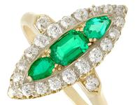 0.92ct Emerald & 1.38ct Diamond, 15ct Yellow Gold Marquise Ring - Antique c.1910 (3 of 9)