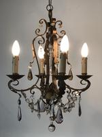 Gilt Bronze Toleware Chandelier with Crystal Droplets (2 of 8)