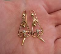 Antique Victorian Diamond Drop Earrings, 15ct Gold (3 of 10)