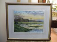 Watercolour Amberley Sunset Listed artist Andrew Dandridge (Free shipping to Mainland England) (3 of 10)