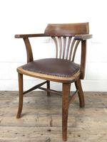 Pair of Early 20th Century Oak & Leather Desk Chairs (5 of 10)