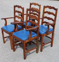 1960's Set 4 Oak Carver Dining Chairs with Blue Leather Pop Out Seats (2 of 4)