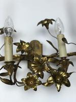 French Gilt Toleware Lilly Wall Lights Sconces (7 of 12)