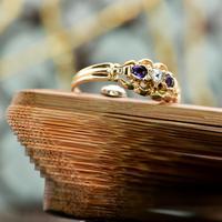 The Antique Heart Set Rose Diamond & Amethyst Ring (3 of 6)