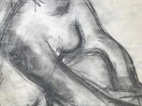 Original Expressionist Pencil Drawing 'Double Sided' of a Woman Washing by Tony Bartl 1910-2002. Signed & Dated 48 (3 of 4)