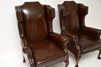 Pair of  Antique  Leather Wing Back Armchairs (4 of 11)