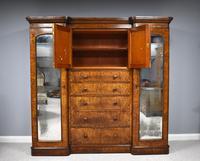 19th Century Victorian Inverted Breakfront Burr Walnut Wardrobe (9 of 10)
