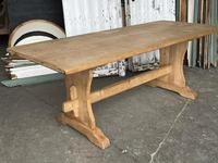 French Bleached Oak Trestle End Farmhouse Dining Table (6 of 19)