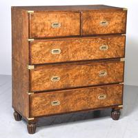 Victorian Two-part Walnut Military Chest