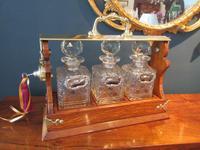 Late Victorian Polished Oak Three Bottle Tantalus (2 of 10)