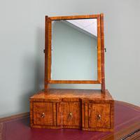 Stunning Figured Oak Antique Dressing Table Mirror