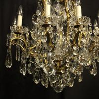 French Gilded Bronze & Crystal 11 Light Birdcage Chandelier (5 of 10)