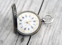 Antique Swiss Silver Women's Pocket Watch, Fancy Case, Fully Hallmarked c.1900 (3 of 10)