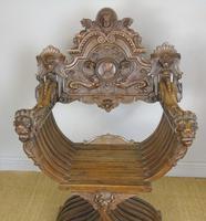 Outstanding Italian Walnut Savonarola Chair (9 of 12)
