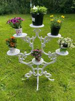 Victorian 19th Century Garden Cast Iron Painted White 6 Branch Plant Stand (4 of 47)