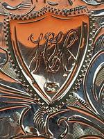 Antique Sterling Silver Hallmarked Vesta 9ct Gold Cartouche 1911, Smith & Bartlam (2 of 9)