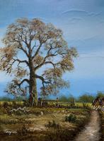 Original 1960s Vintage Antique Country Equestrian Farming Landscape Oil Painting (6 of 11)