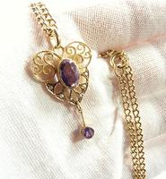 Antique Victorian Gold Amethyst & Seed Pearl Necklace (4 of 8)