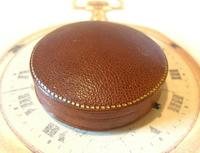 Antique Jewellery or Fob Watch Box 1910 Edwardian Burgundy Leatherette Satin Lined (8 of 9)