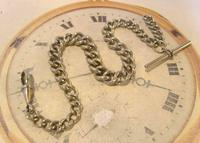Antique Pocket Watch Chain 1890 Victorian Chunky Silver Nickel Albert With T Bar (4 of 11)