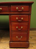 Handsome Antique Pedestal Desk with New Black Leather to Top (9 of 21)