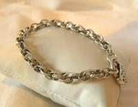 "Vintage Silver Bracelet 1970s Ornate Heart Padlock 7 1/2"" Length 13.3 Grams (2 of 11)"