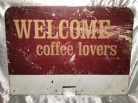 Vintage English Original Enamel Metal Welcome Coffee Lovers Double Sided Shop Sign (19 of 21)