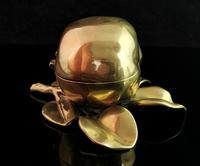 Antique Victorian Brass Inkwell, Apple (7 of 13)