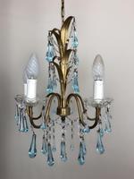 Vintage Gilt Toleware Ceiling Light Chandelier with Teal Glass Droplets (8 of 12)