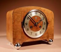 Art Deco Black Forest Very Stylish Walnut Mantel Clock c.1940 (7 of 8)