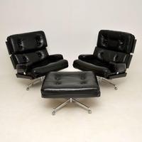 Pair of Vintage Leather / Chrome Armchairs & Ottoman by Howard Keith (2 of 16)