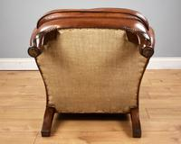 Victorian Hand Dyed Brown Leather Wing Back Armchair (6 of 13)