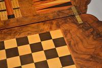 Antique Victorian Burr Walnut Games & Work Table (14 of 14)
