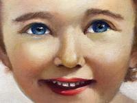 """20th Century Oil Painting Portrait Girl With Curly Hair """"The Happy Smile"""" (6 of 19)"""