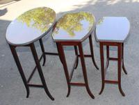 1960s Nest 3 Oval Mahogany Tables with Glass Tops (3 of 4)