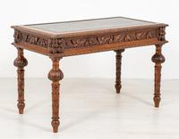 Victorian Carved Oak Writing Table (7 of 8)