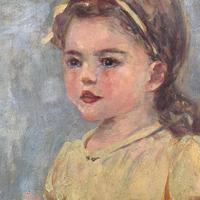 Antique oil painting portrait of young girl in ornate gesso frame signed William Patrick (6 of 8)
