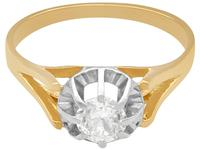 0.49ct Diamond 7 18ct Yellow Gold Solitaire Ring - Vintage French c.1940 (4 of 9)