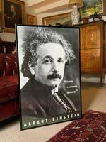 Large 20th Century Vintage Framed Poster Of Albert Einstein (1879-1955)