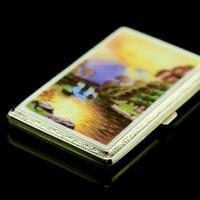 English Solid Silver Enamel Cigarette Case with Landscape Scene - A.J.P London 1927 (14 of 14)