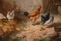 """Oil Painting by Louis Marie Lemaire """"Chickens in a Farmyard"""" (8 of 9)"""