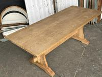 French Bleached Oak Trestle End Farmhouse Dining Table (7 of 19)