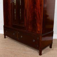 Triple Compactum Wardrobe Flame Mahogany 19th Century (7 of 12)