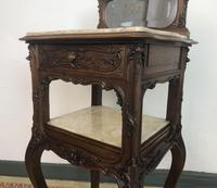 Antique French Walnut Bedside Cabinets Marble Tops & Mirrors Pot Cupboards (7 of 16)