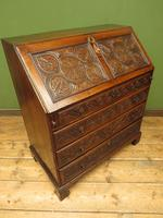 Antique Carved Oak Writing Bureau Desk with Fall Front, Handsome Gothic Piece (15 of 24)
