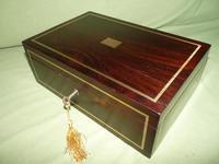 Quality Unisex Inlaid Rosewood Jewellery Box. c1840 (9 of 11)
