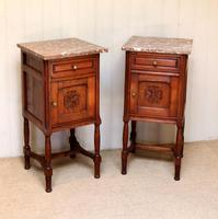 Pair of French Oak Marble Top Bedside Cabinets (5 of 9)