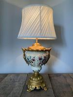 Victorian Gilded Spelter & Ceramic Table Lamp, Rewired & Pat Tested, Shade Included (4 of 10)