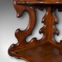 Antique 3 Tier Hanging Whatnot, English, Rosewood, Corner Wall Shelf, Victorian (8 of 12)