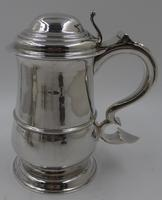 Good Antique George III Silver Lidded Tankard. Newcastle 1760